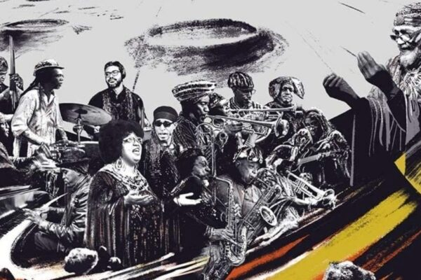 Sun Ra Arkestra na capa do disco Swirling